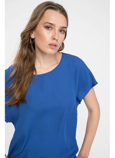 DeFacto Krep Bluz Mavi